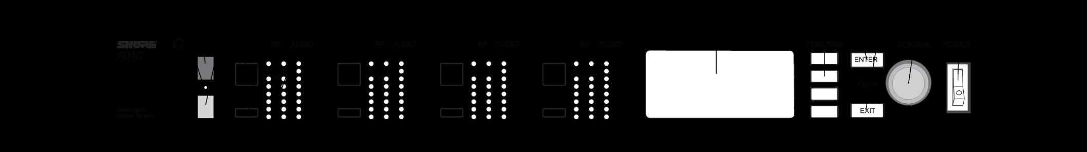 Передняя панель Shure Axient AD4Q AD4QE
