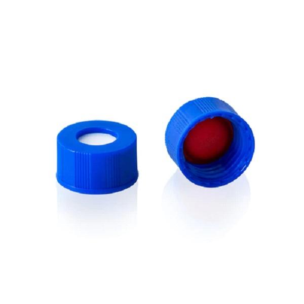 картинка Крышка для виал 9-425 в сборе: септа красный PTFE/белый силикон, без прорези, +синяя навинчивающаяся крышка 100 шт/уп, Lab-Support, Китай от компании Лаб-Саппорт