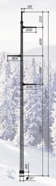 Промежуточная одноцепная опора 35, 110, 220 кВ