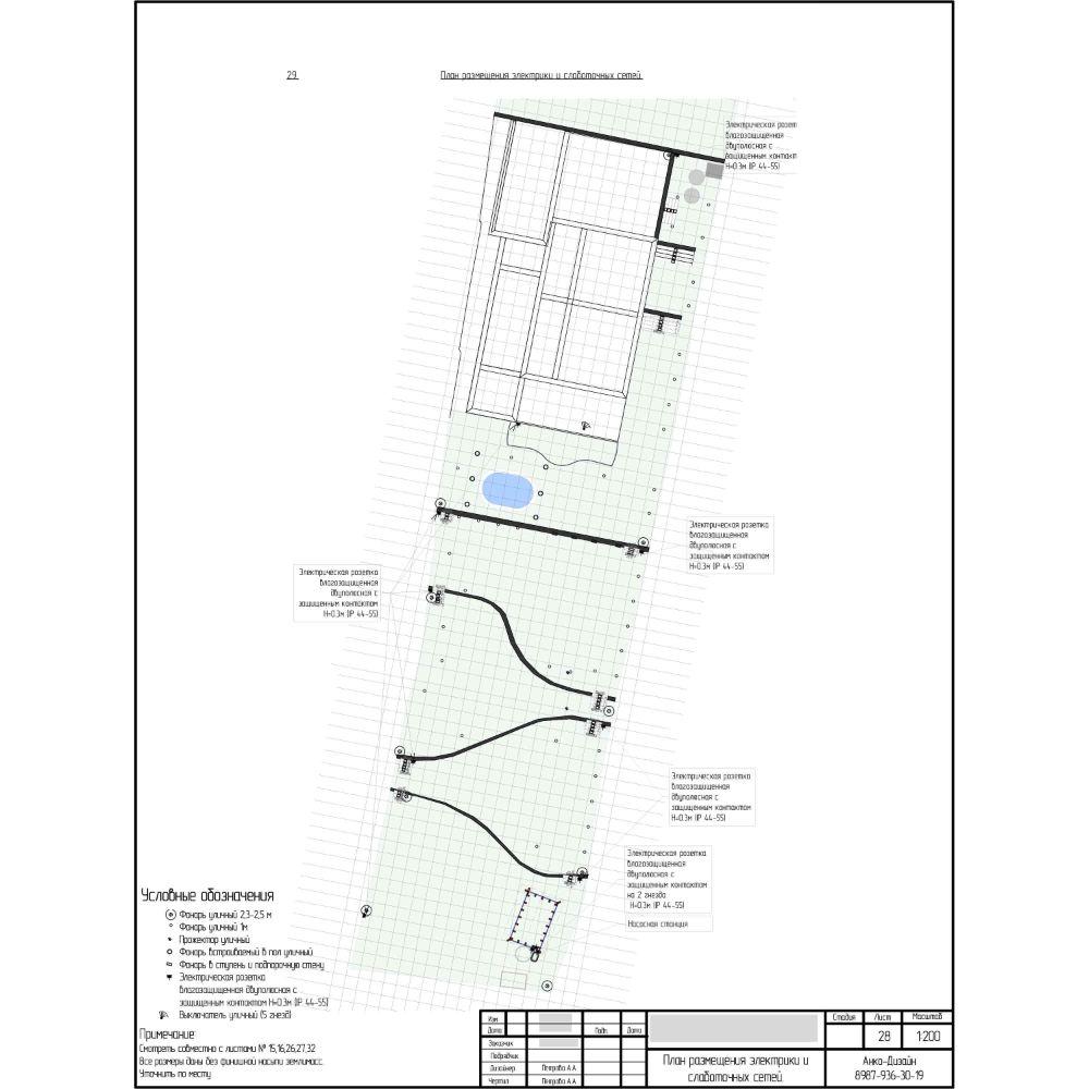 План-размещения-электрики-и-слаботочных-сетей-на-участке Ландшафтный-дизайн-сада-AnkoDesign