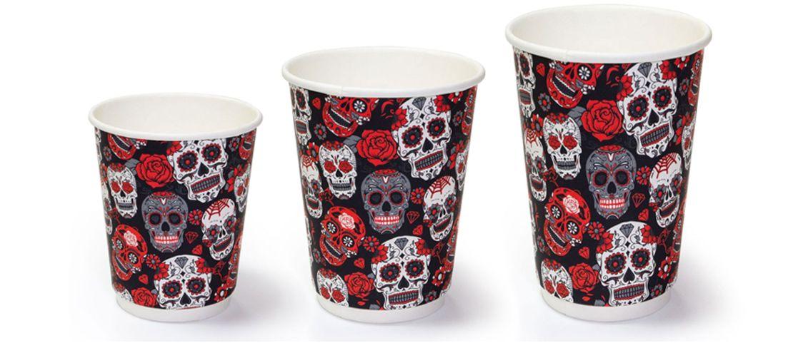 Двухслойные бумажные стаканы thermoCup Santa Muerte