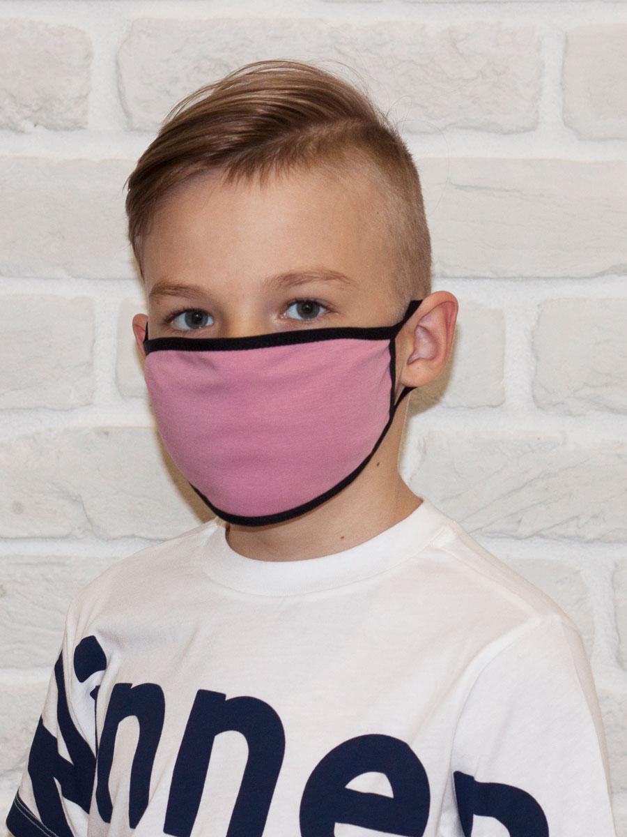 Маска детская двухслойная тканевая с кармашком, розовая с черным кантом