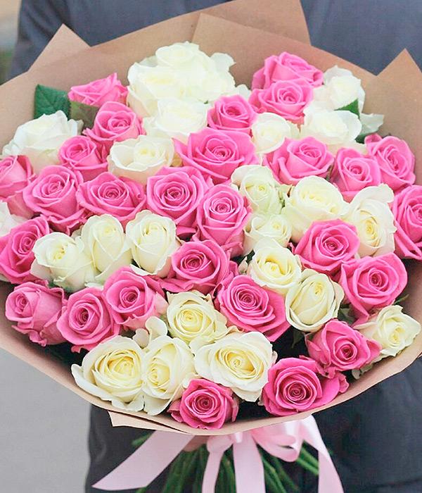 51 розовая и белая роза
