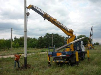 Установка опор воздушных линий (ВЛ) электропередач