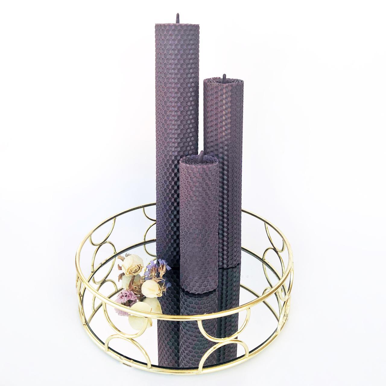 Спелая черника, набор свечей из натуральной вощины