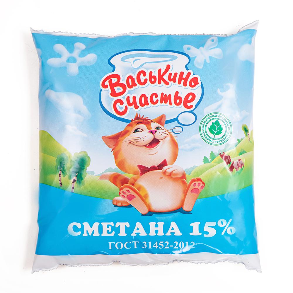 СМЕТАНА 15% БЗМЖ пл 450 гр «Васькино счастье» Татарстан
