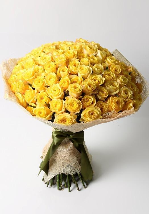 Эквадорская роза Желтая 101 штука