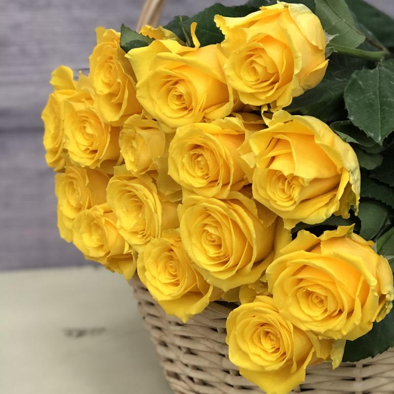 Эквадорская роза 70 см Желтая , 15 штук