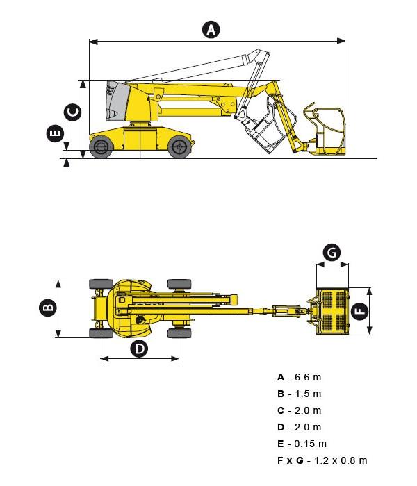 Коленчатый аккумуляторный подъемник HA15IP