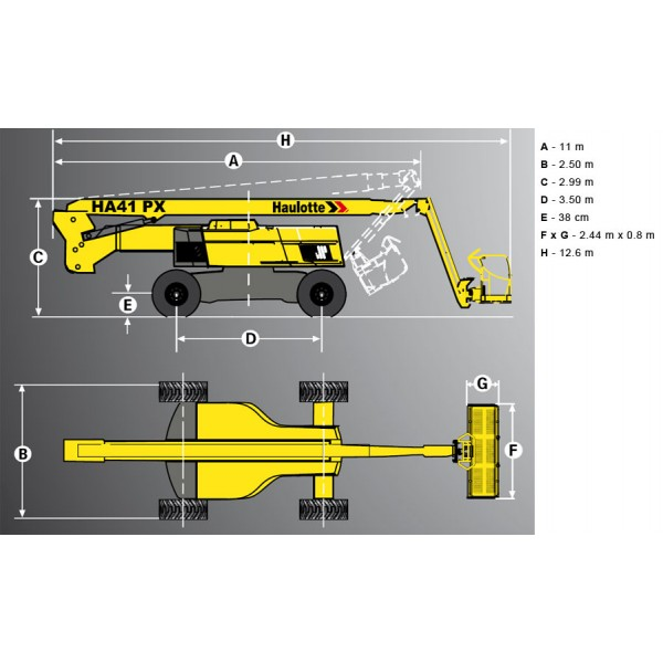 Коленчатый дизельный подъемник HA41PX