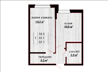 1 комнатная квартира 33,1 м