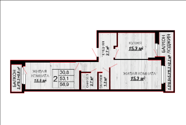 2 комнатная квартира 56,9
