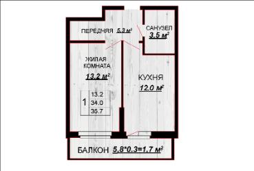 1 комнатная квартира 35,7 балкон