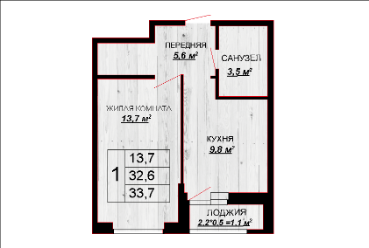1 комнатная квартира 33,7 м