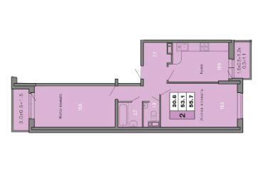 2-х КОМНАТНАЯ квартира (55,7 кв.м) Фото