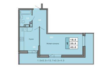 1 КОМНАТНАЯ квартира (40 кв.м) Фото