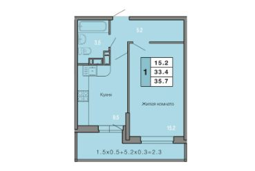 1 КОМНАТНАЯ квартира (35,7 кв.м) Фото