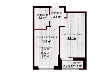 1 комнатная квартира 33,4 м евр