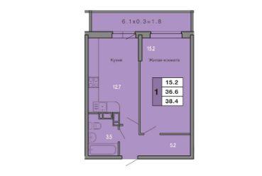 1 КОМНАТНАЯ квартира (38,4 кв.м) Фото