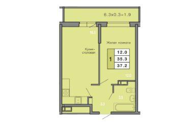 1 КОМНАТНАЯ квартира (37.2 кв.м) Фото