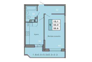 1 КОМНАТНАЯ квартира (35,6 кв.м) Фото