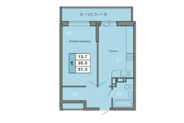 1 КОМНАТНАЯ квартира (37,3 кв.м) Фото