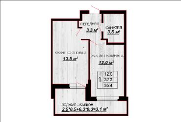 1 комнатная квартира 35,4 лб