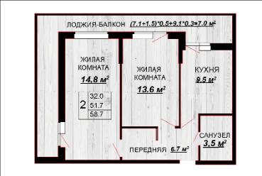 2 комнатная квартира 58,7