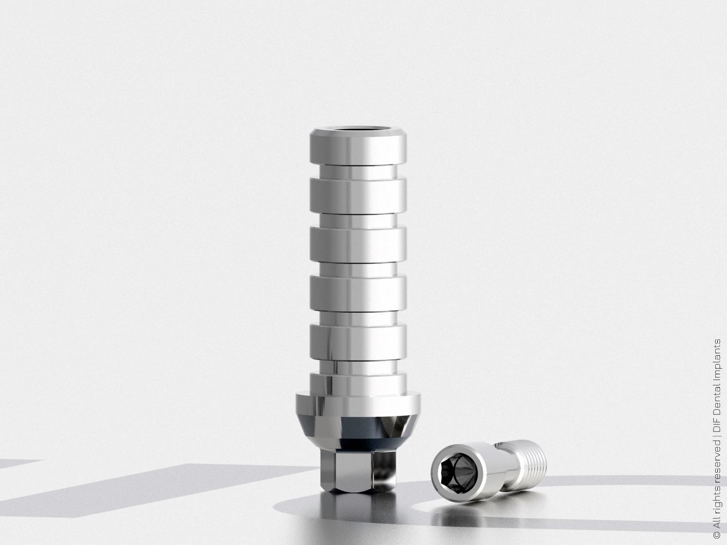 Абатмент временный титановый D4.5 мм – H11.0 мм HEX серии Classic с внутренним шестигранником 2.4 мм производства DIF