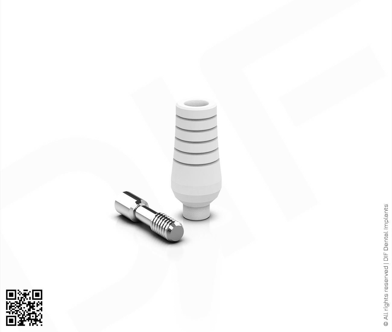 Фото абатмент пластиковый прямой анатомический d4.5 мм – h9.0 мм non hex серии classic производства DIF.