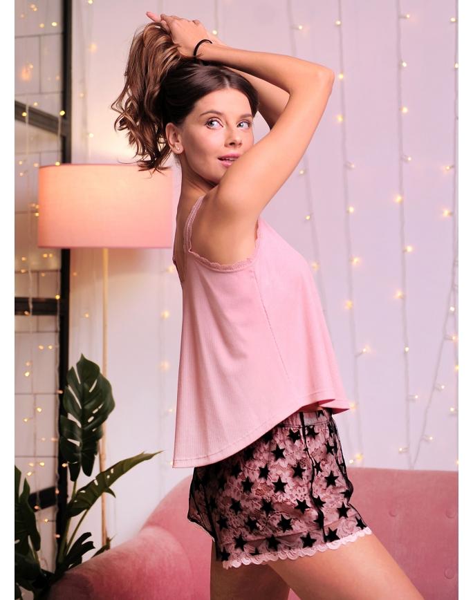 Пижама женская майка+шорты Indefini 511500-TDP0015 (к130001)