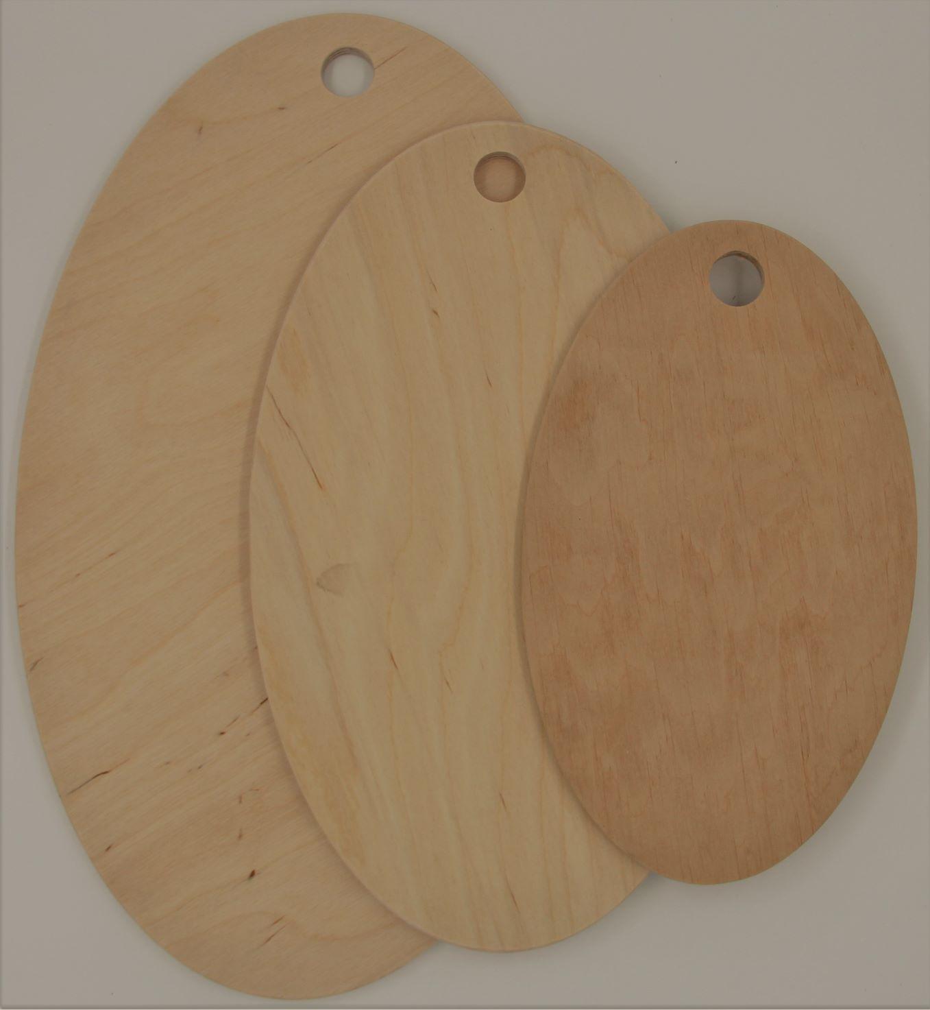 """Набор 3-х  разделочных досок фанера """"овал"""" модель 4 - 8 ( 37х21 , 30х16, 25х15, 0,8 см)"""