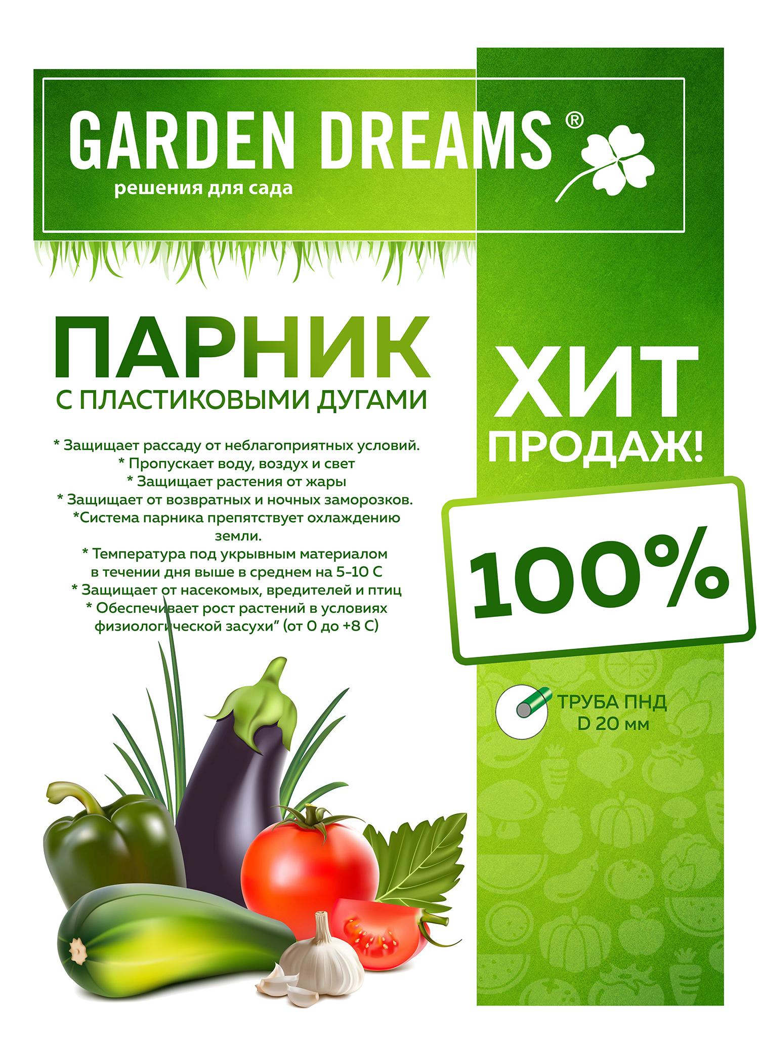 Парник GardenDreams с пластиковыми дугами 0.6x3x0.85 м