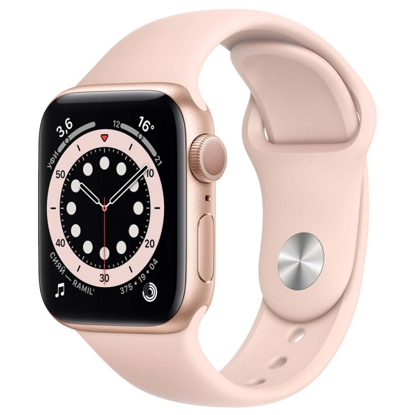 Apple Watch S6 40mm Gold Aluminum Case with Pink Sand Sport Band