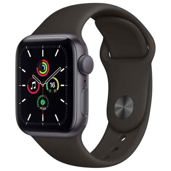 Apple Watch SE 40mm Space Gray Aluminum Case with Black Sport Band