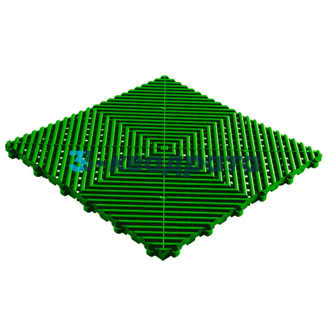 Пластиковая универсальная модульная плитка PR 400x400, зеленая
