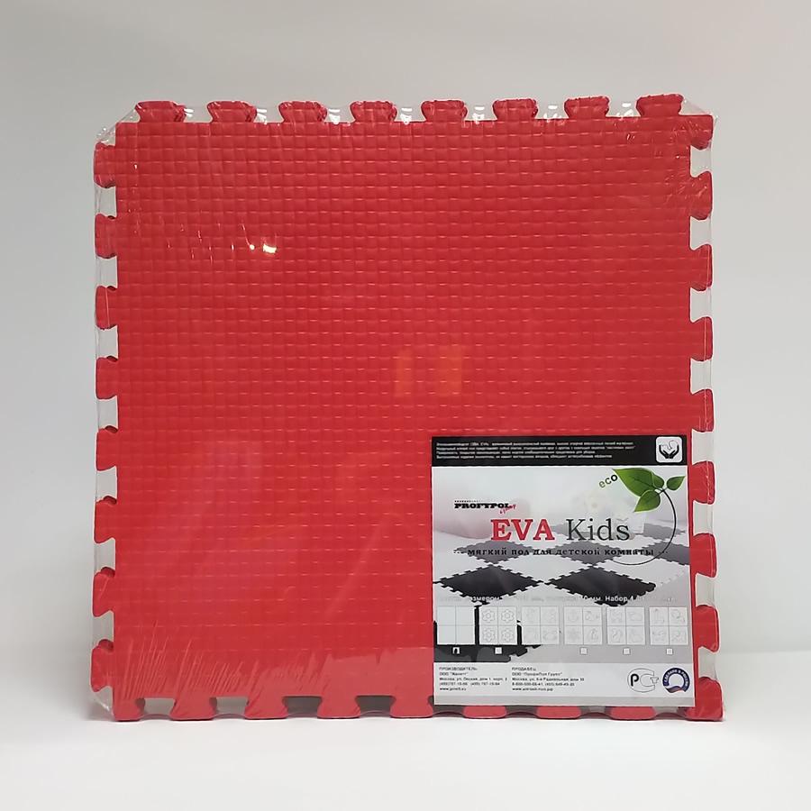 Мягкий пол коврик пазл EvaKids 50х50х1 см набор 4 шт. Красный