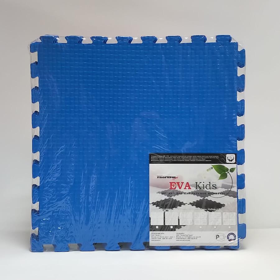 Мягкий пол коврик пазл EvaKids 50х50х1 см набор 4 шт. Синий