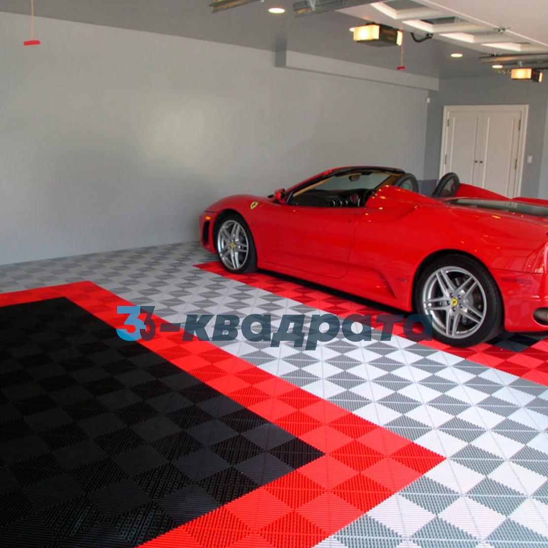 Пластиковая универсальная модульная плитка PR 400x400, красная