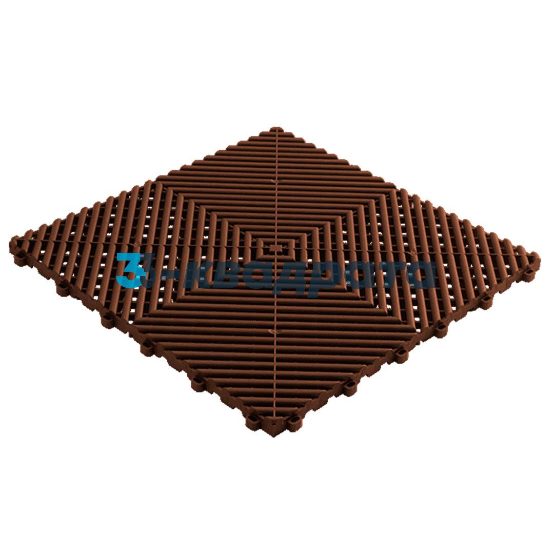Пластиковая универсальная модульная плитка PR 400x400, коричневая