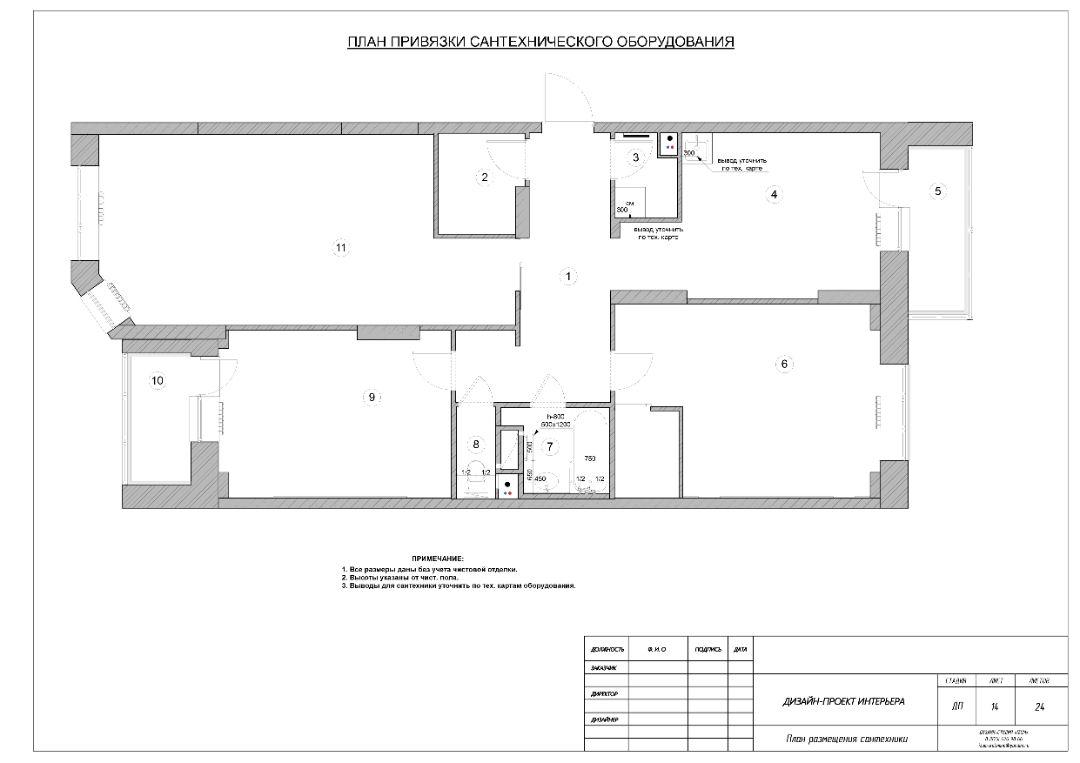 План привязки сантехнического оборудования