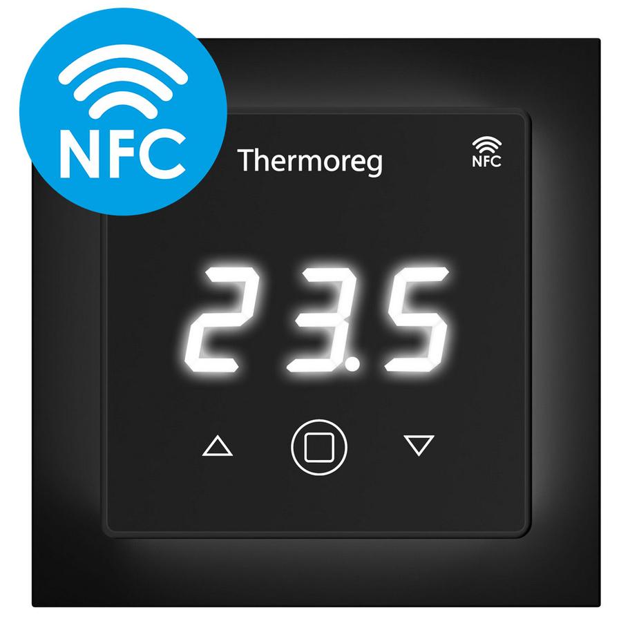 Терморегулятор электронный сенсорный для теплого пола Thermo TI-700 NFC черный с поддержкой NFC