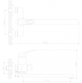 картинка Смеситель DECOROOM DR37043 одноручный для ванны универсальный с поворотным изливом 300мм от магазина Одежда+