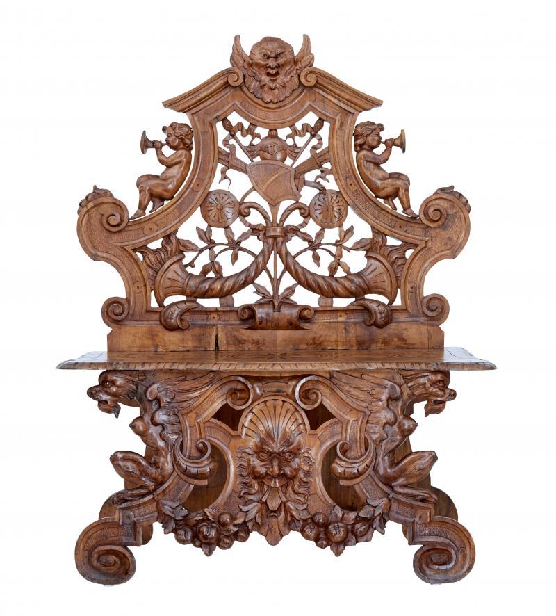 картинка Антикварный резной ореховый фламандский стул от магазина Одежда+