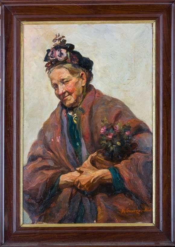 """картинка Антикварный портрет - """"Старая цветочница"""" от магазина Одежда+"""
