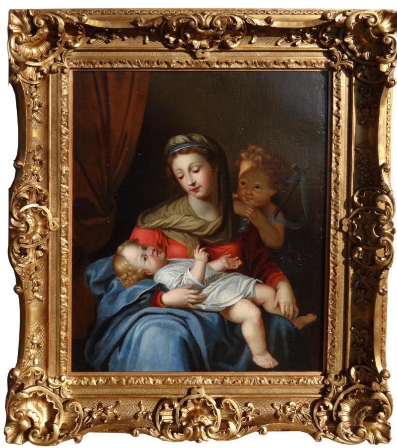 """картинка Антикварная картина """"Дева с Младенцем"""". XVIII век. Холст, масло. от магазина Одежда+"""