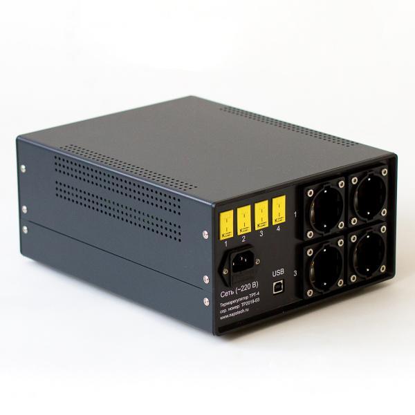 картинка 4-х канальный ПИД терморегулятор, включая контроллер температуры Термодат 17E6, четыре силовых блока СБ15М3, преобразователь RS485/USB.