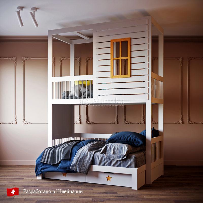 Детская кровать  Белый дом - фабрика мебели Mamka