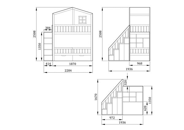 Двухъярусная кровать домик Кинг Эр 1 - фабрика мебели Mamka