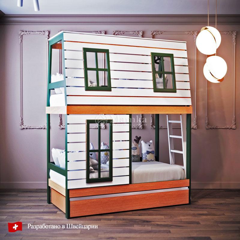 Двухъярусная кровать Дом Мечтателя - фабрика мебели Mamka